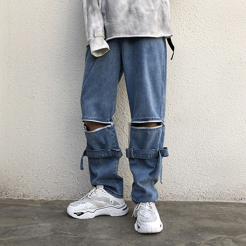 Removable New Trousers Summer Pattern Baggy Homme Classic Cargo Pocket Jeans Mens Blue Color Casual Pants Biker Denim Trousers