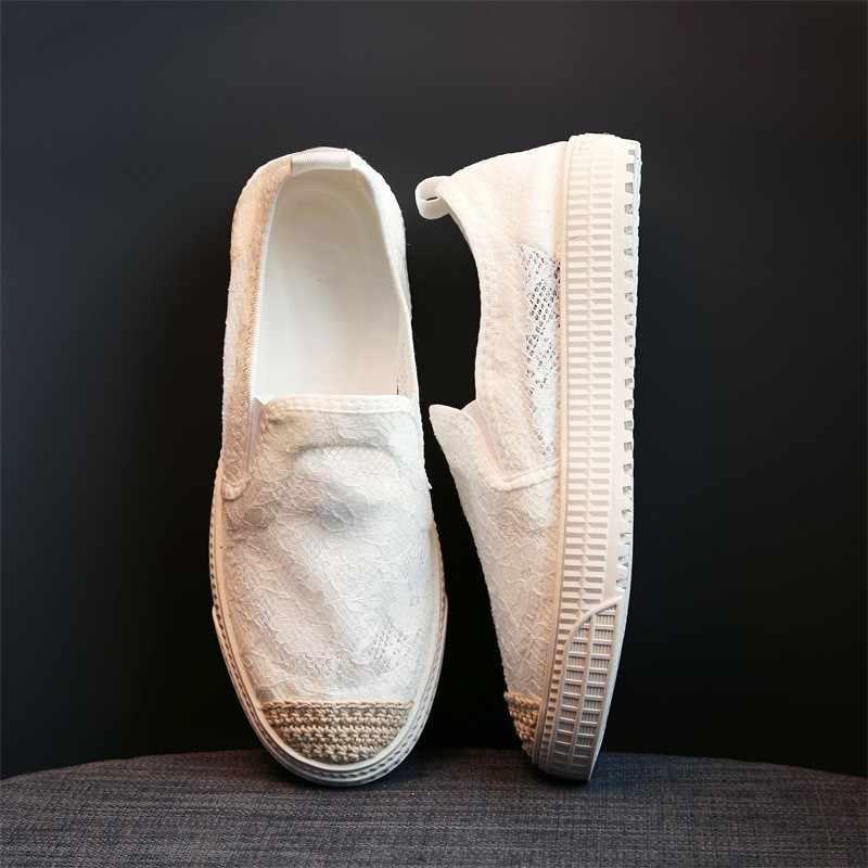 Yaz kadın nefes oyma dantel düz ayakkabı rahat örgü loafer'lar üzerinde kayma Flats yuvarlak ayak beyaz ayakkabı sürüş ayakkabısı