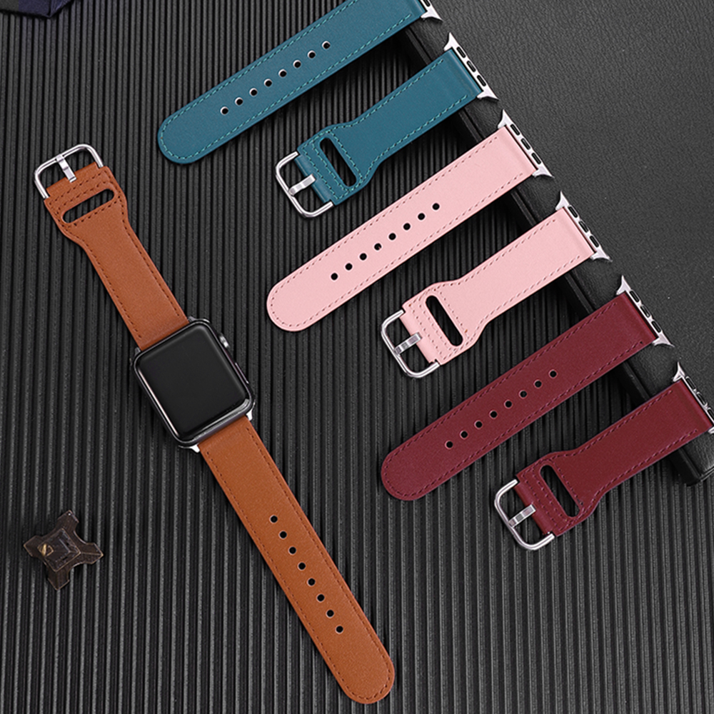 Genuine leather loop strap for <font><b>apple</b></font> <font><b>watch</b></font> band <font><b>42mm</b></font> 44mm series 5 4 watchband 38mm 40mm iwatch <font><b>3</b></font> 21 <font><b>correa</b></font> bracelet Accessories image