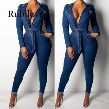 2020 Denim Jumpsuit Women Long Sleeve Front Zipper Jeans Rompers Women Jumpsuit With Sashes  Plus size Belted Streetwear Overal zipper front backpack with tassels