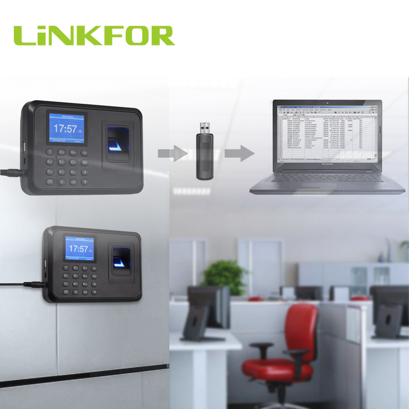 LiNKFOR 2.4 Inch Display Biometric Fingerprint Attendance Machine Employee Checking-in Recorder USB DC 5V Time Attendance Clock