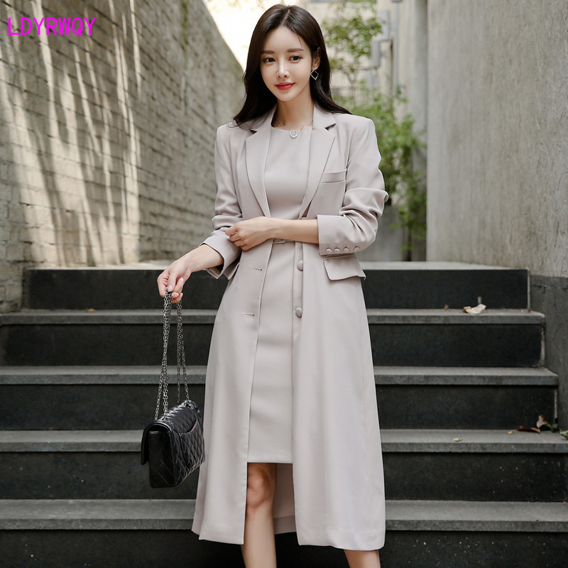 2019 autumn and winter new Korean women's temperament suit collar single-breasted stitching pockets slim long fashion suit