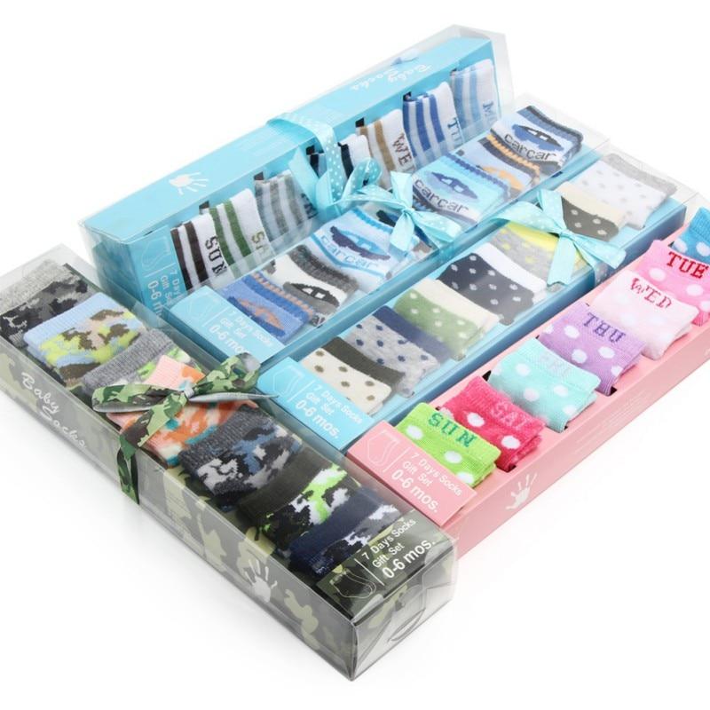 7 Pairs Baby Boys Girls Boxed Socks  Unisex Baby Infant Newborn SocksIn Gift Box Set Kids Baby Low Cut Cotton Socks