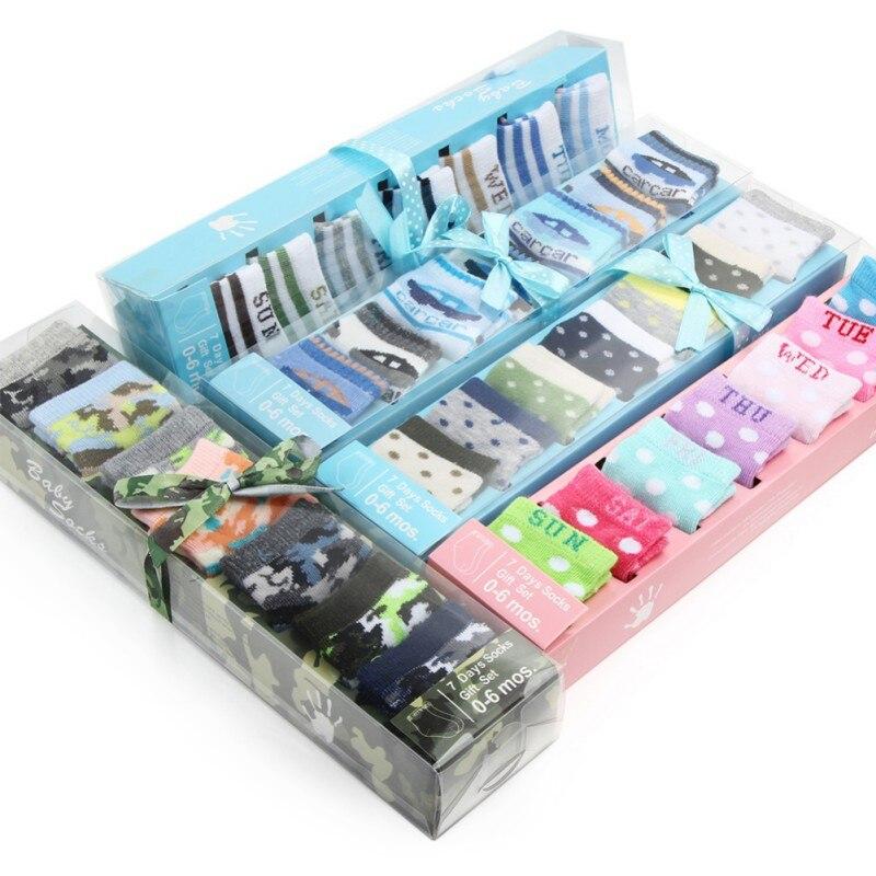 7 Pairs Newborn Baby Boys Girls Boxed Socks Unisex Baby Newborn SocksIn Gift Box Set Kids Baby Low Cut Cotton Socksbaby Socks
