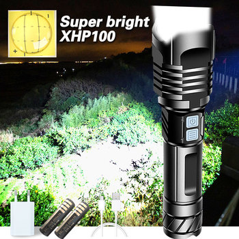 Super Bright XHP100 Powerful Led Flashlight Torch Xhp90 Tactical Flashlight Usb Rechargeable Flash Light 18650 26650 Led Lantern image