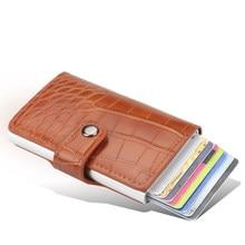 Nova liga de alumínio rfid titular do cartão de crédito couro do plutônio cartão carteira titular do cartão para homens