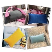 SKTEZO 30*50 Sleek Minimalist Home Rectangle Short Plush Pillowcase Fashion Hair Ball Design Pillow Case Decorative Free FF