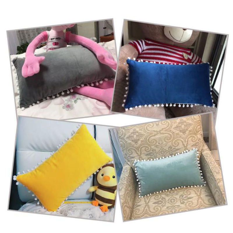 SKTEZO 30*50 Sleek Minimalist Home Rectangle Short Plush Pillowcase Fashion Hair Ball Design <font><b>Pillow</b></font> <font><b>Case</b></font> Decorative Free FF image