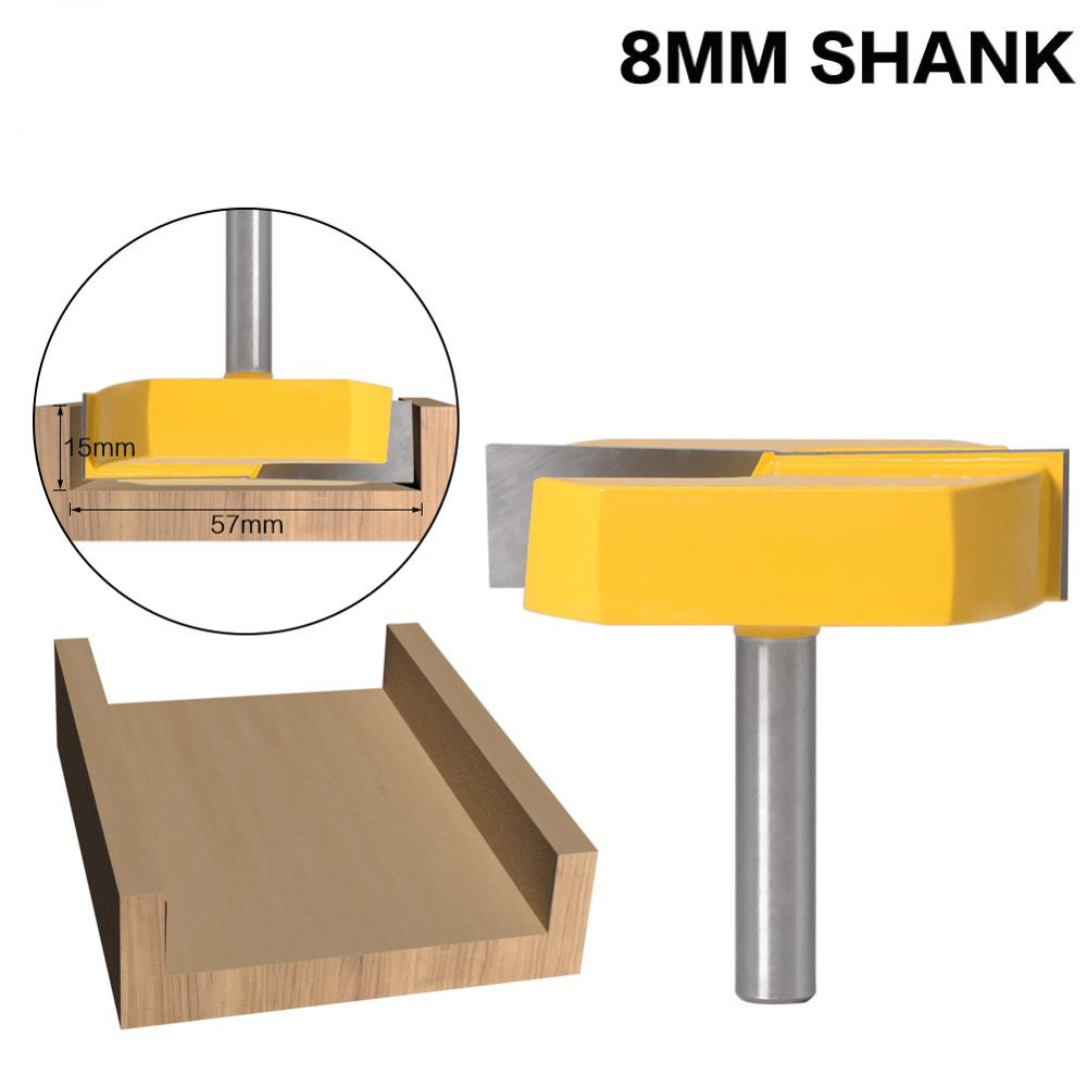 8mm Shank Milling Cutter Woodwork Cleaning Bottom Router Bits 8mm Shank,2-3/16 Cutting Diameter For Surface Planing Router Bit
