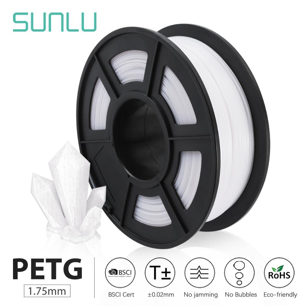 SUNLU PETG 3D filament 1 75mm 1KG 2 2lb full color PETG 3D Printer Filament Dimensional Accuracy   - 0 02 mm 1 kg Spool 1 75 mm
