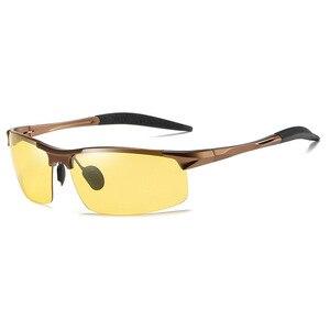Image 5 - אלומיניום ראיית לילה משקפיים כדי להפחית בוהק עם צהוב מקוטב עדשות לילה משקפיים נהיגה בלילה דיג 5933