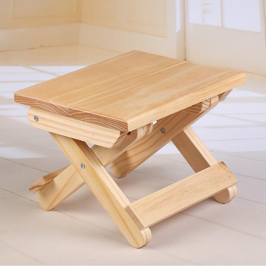 Portable Simple Wooden Folding Stool Outdoor Fishing Chair Small Stool Student Book Desk
