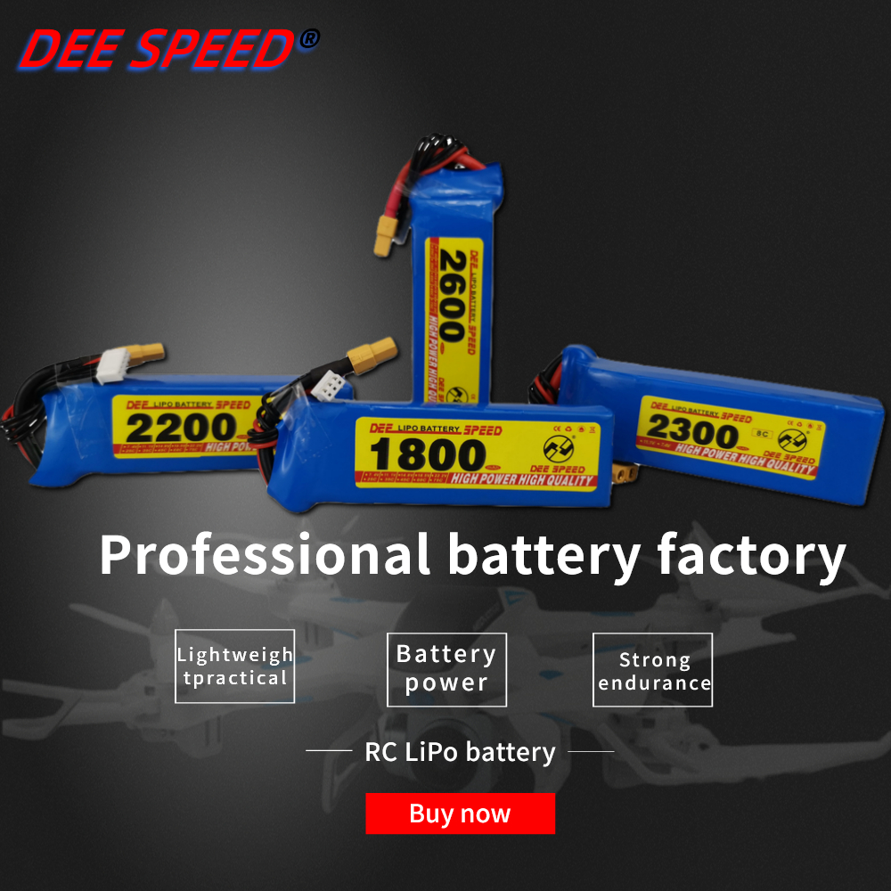 Dee <font><b>3S</b></font> RC Lithium Battery 11.1V 1300 1500 1800 <font><b>2200</b></font> 2600 3000 <font><b>mAh</b></font> 25C 35C 60C is suitable for quadrotor UAV helicopter car <font><b>LiPo</b></font> image