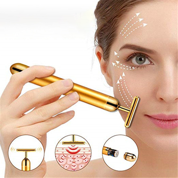 Face Gold Vibration Massager Stick Facial Beauty Lift Skin Tightening Wrinkle Face Skin Care Tools 24K Gold Energy Beauty Bar