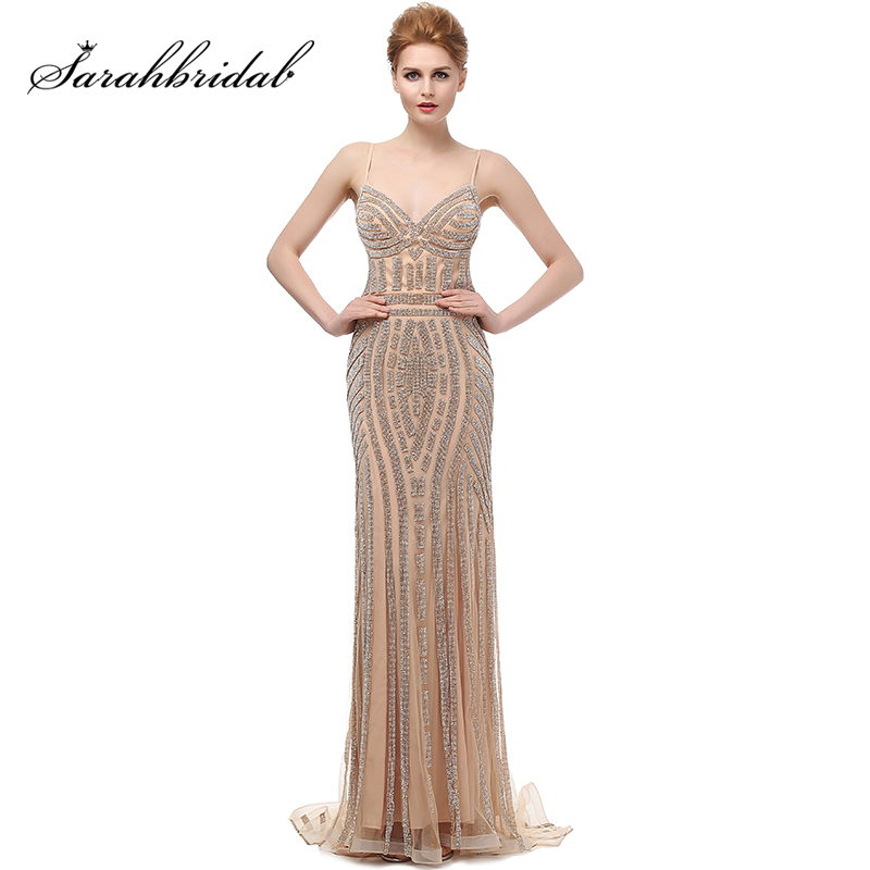 Robe De Soiree Glitter Evening Dresses with Crystals Plus Size Long Champagne Prom Dresses Beautiful Mermaid