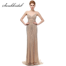 Robe De Soiree Glitter Evening Dresses with Crystals Long Champagne Prom Mermaid Formal Gowns Real Photo LX116