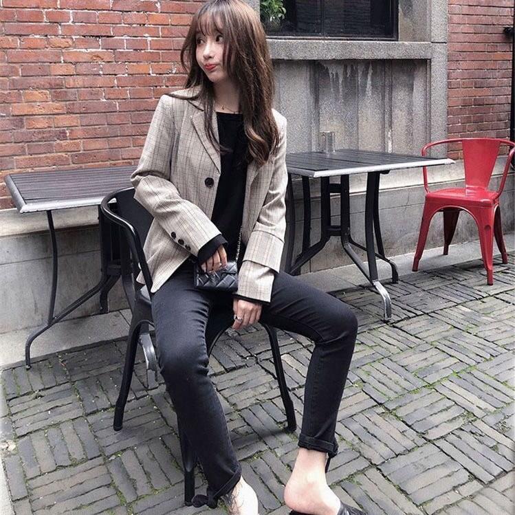 Women Jacket Coat And Straps Mini Dress Plaid Suits Pockets Retro Slim Office Blazer Lady Ol Work Two Piece Set