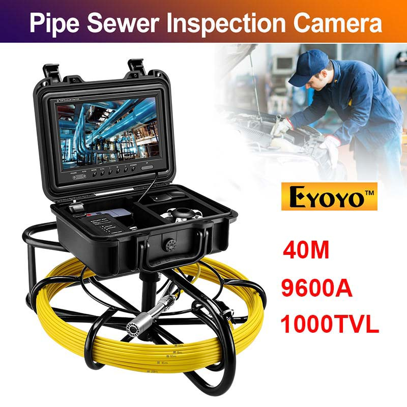 Eyoyo 9 Inch Monitor Pipeline Endoscope Inspection Camera 40M Underwater Industrial Pipe Sewer Drain Video Snake Camera