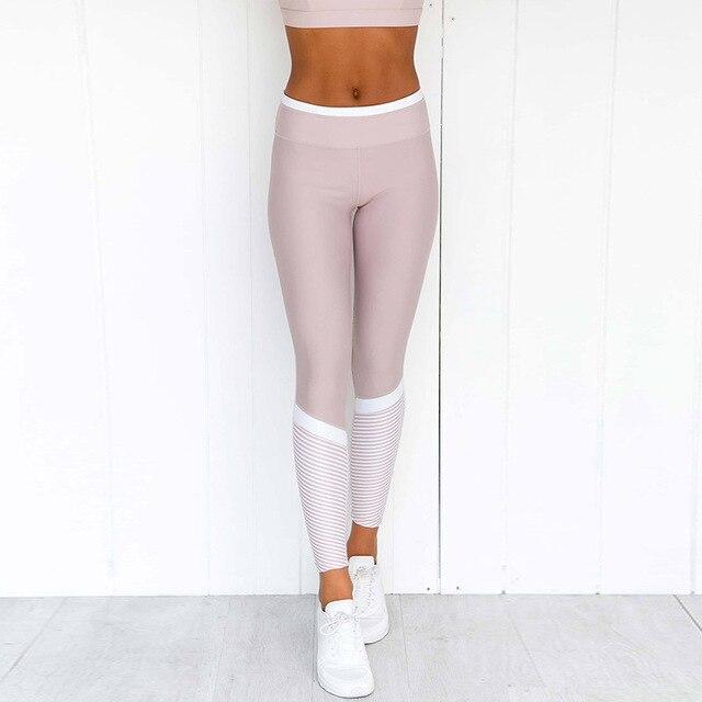 1 Set Women Pink Solid Stripe Pink Workout Set Push up Leggings Workout Fitness Active Pants Girls Sports Suit Short Print 4