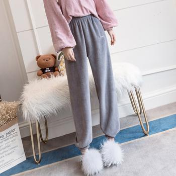 Damskie spodnie od piżamy w pasie spodnie w domu na co dzień ciepłe spodnie damskie 2020 moda zimowa solidny kolor spodnie damskie spodnie tanie i dobre opinie Puimentiua Poliester CN (pochodzenie) Suknem pant Elastyczny pas polyester Drukuj Kostki długości spodnie Winter