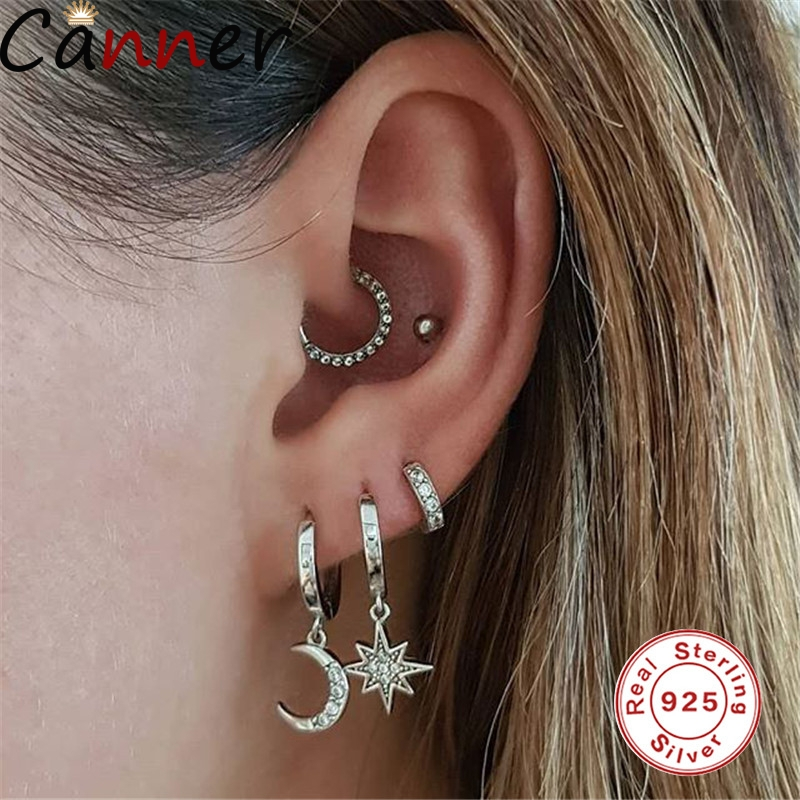 Moon Star Pair Dangle Earrings 925 Sterling Sliver Hoop Earrings For Women Wedding Party Drop Earrings Jewelry
