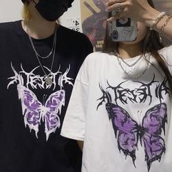 Verão tops streetwear vintage borboleta impressão gótico dropshipping coreano preto grande tamanho harajuku manga curta camisetas femininas