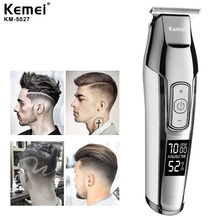 pulis professional hair clipper electric hair trimmer with lcd display 100 240v 2200mah rechargeable haircut machine barber tool Kemei Barber Professional Hair Clipper LCD Display 0mm Baldheaded Beard Hair Trimmer for Men DIY Cutter Electric Haircut Machine