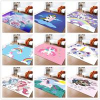 30 Styles Unicorn 3D Carpet Cartoon Animal Child Bedroom Play Mat Soft Flannel Memory Foam Area Rugs and Carpets for Living Room