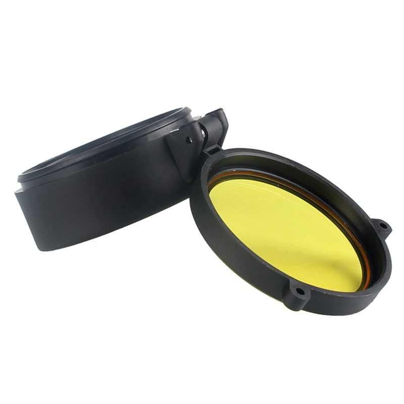 Caza, 30-69mm, cubierta transparente para objetivo de Rifle Airsoft, tapa protectora de resorte rápido con tapa, objetivo amarillo