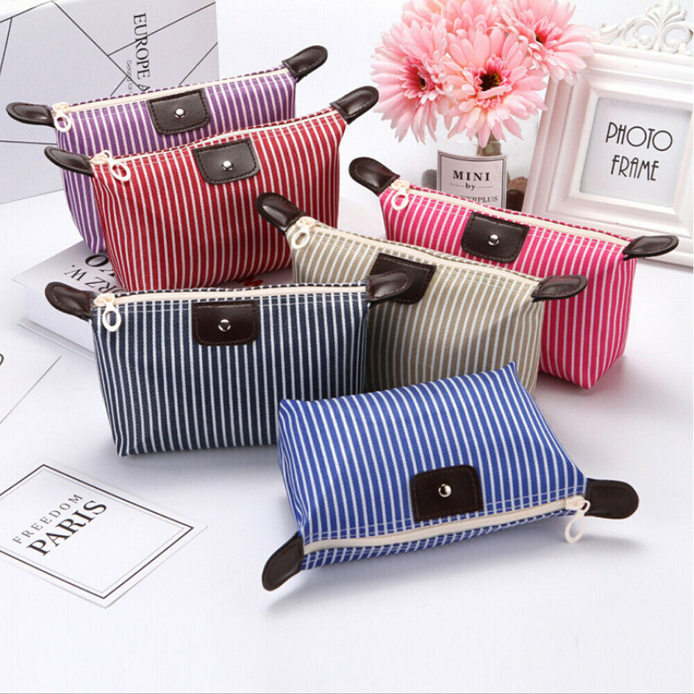 Multifunction Beauty Cosmetic Makeup Bag Striped Organizer Zipper Travel Toiletry Waterproof Case Pouch High Quality Bags