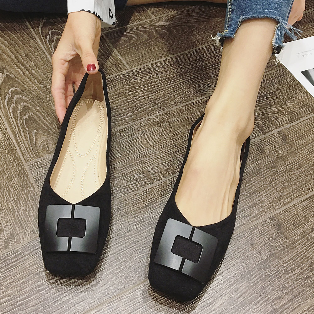 2020 NEWEST Spring Autumn Women Ballet Flats Shoes Metal Button Shallow Woman Females Ladies Work Draving Single Shoes Loafers