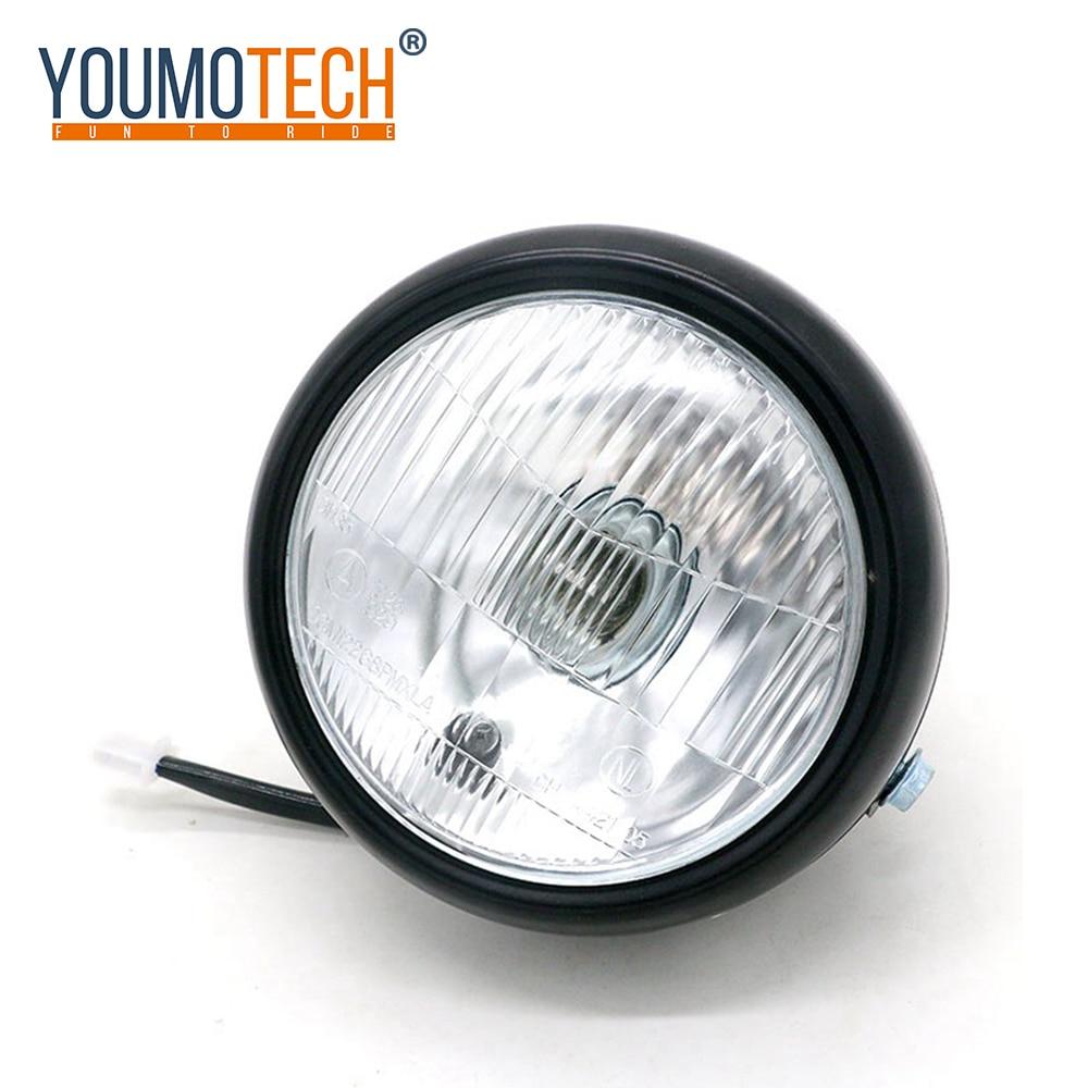 Motorcycle Motorbikes Chopper Cafe Racer Amber Lens Retro Vintage Round Headlight Lamp 12V Fit For Honda Suzuki