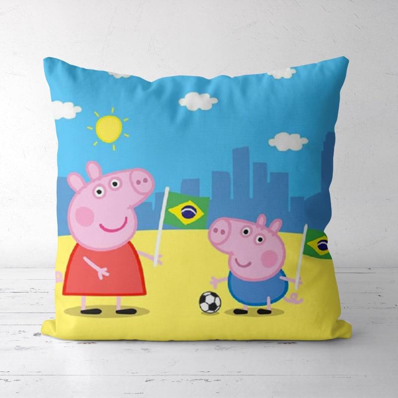 40cm Peppa Pig Cartoon Pillowcase Case Printed Sofa Pillow Anime Short Plush Sofa Cushion Kids Birthday Gift