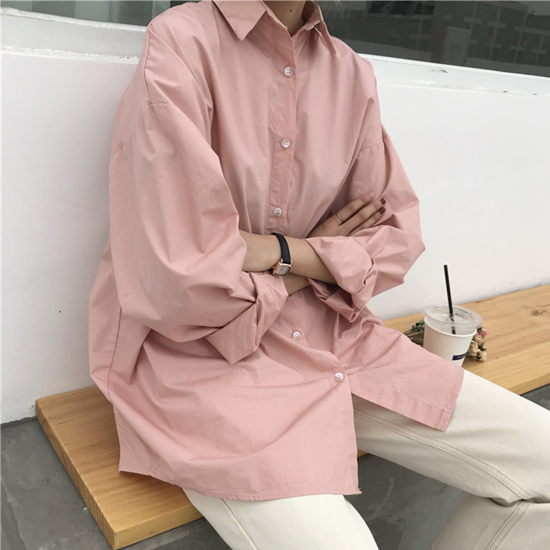 Long Sleeve Turn Down Collar Women's Shirt White Plain Button Shirts For Women 2020 Spring Summer Solid Basic Tops Female Pink