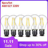 Bombilla LED esmerilada de 220v, lote de 6 unidades, 2w, 4w, 6w, 8w, E27, E14, 230v, A60, G45, ST64, C35