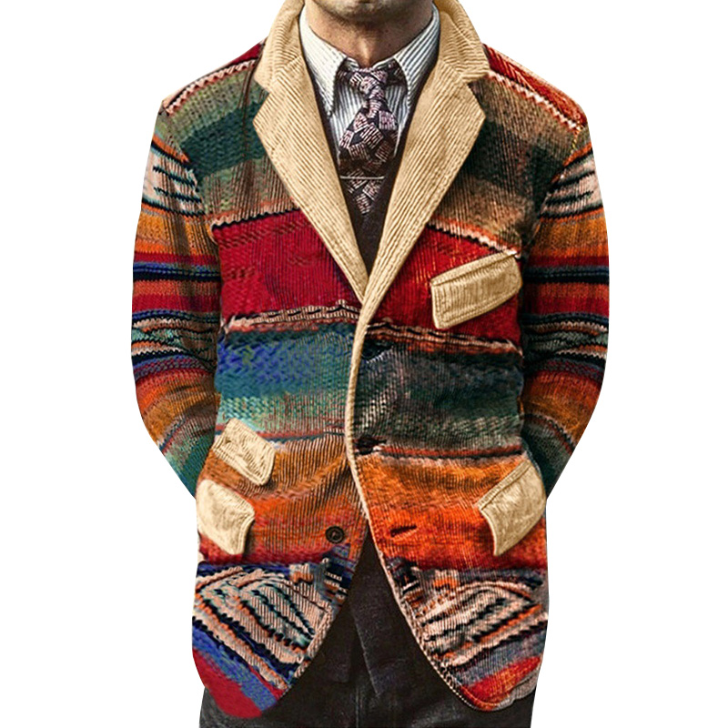 Men's Vintage Rainbow Print Corduroy Jackets Business Party Dress Suit Print Gradient Pockets Coats Blazer Male Christmas Winter