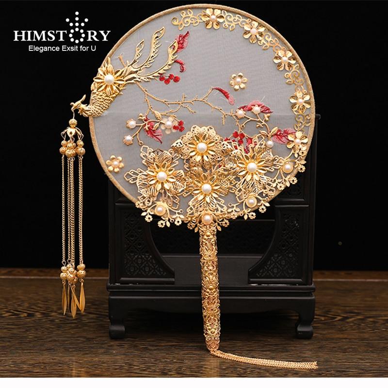 HIMSTORY Luxury Chinese Bridal Fan Bouquet Pearls Gold Phoenix Handmade Wedding Flowers Metal Round Hand Fan Brides Accessories