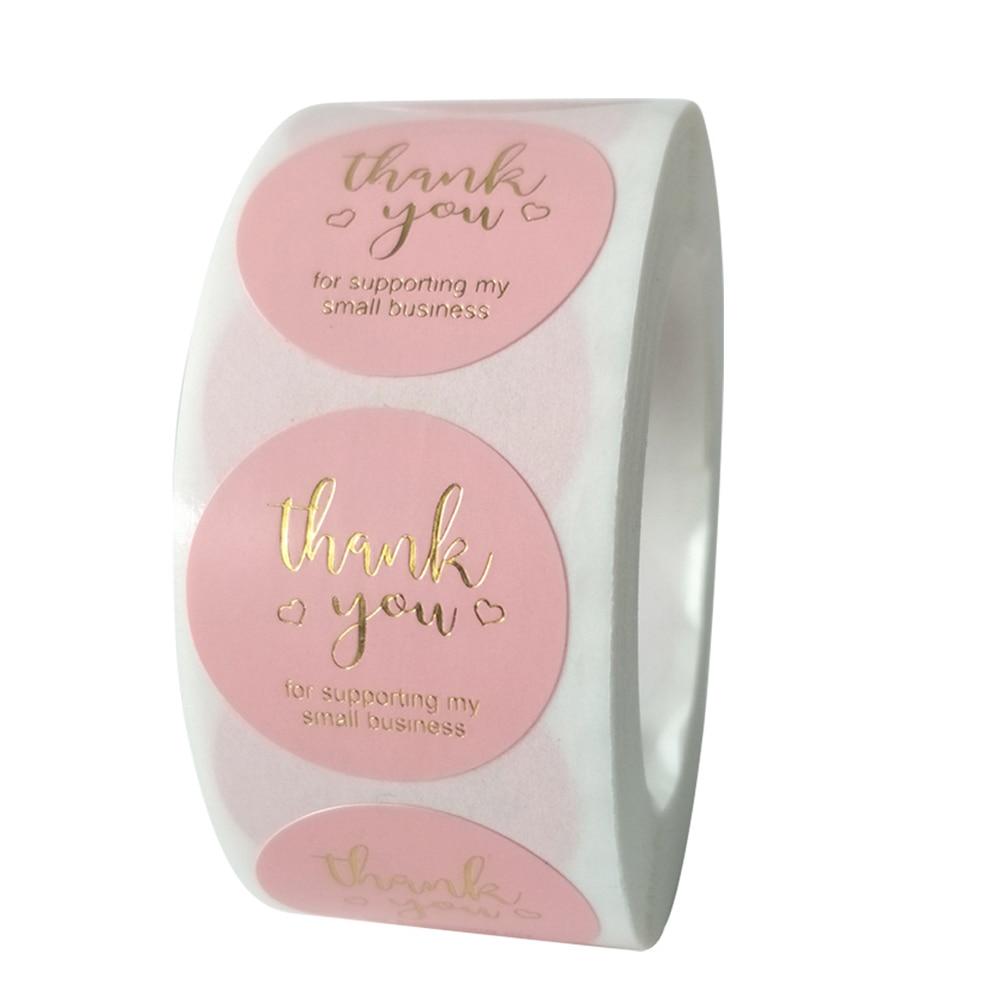 50 шт. круглые розовые наклейки для бизнес-этикеток, бумага, милые наклейки для выпечки, упаковочные этикетки для печати, канцелярские наклей...