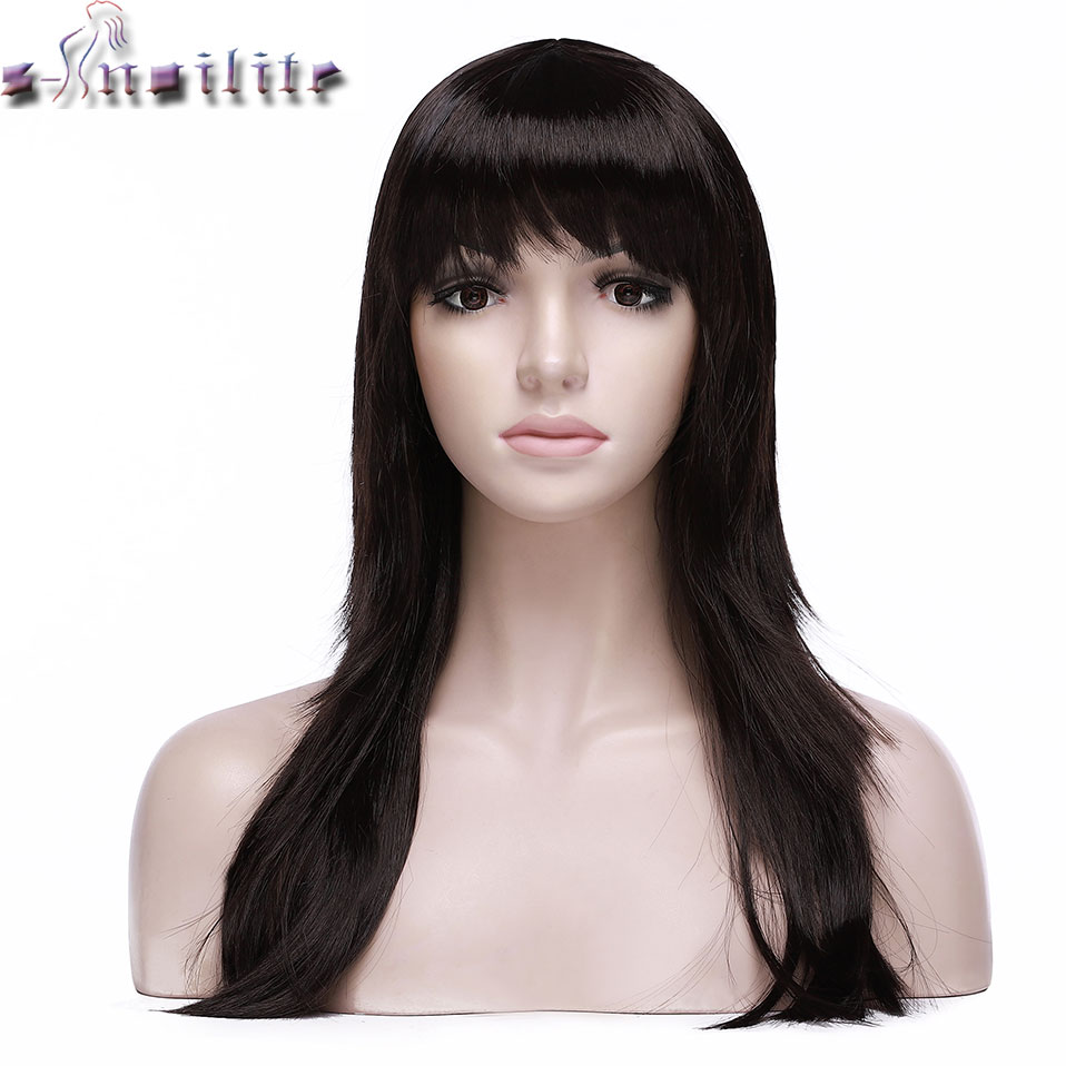 S-noilite 20inch Long Straight Wig With Bangs Synthetic Women Hair Wig Black Brown Auburn Women Wig For Party Cosplay