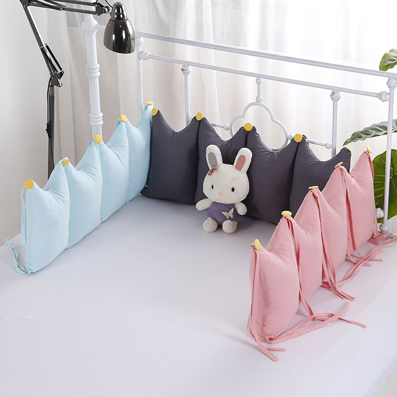 Baby Crib Bumper Cartoon Breathable Padded Mesh Crib Bumper Pad Cradle Bumper Pads Cotton Crib Rail Cover Padded Bed Cushion