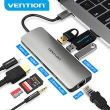 Vention Thunderbolt 3 Adapter stacji dokującej USB C na HDMI RJ45 USB 3.0 rozdzielacz Audio wideo dla MacBook Samsung Huawei USB C Adapter