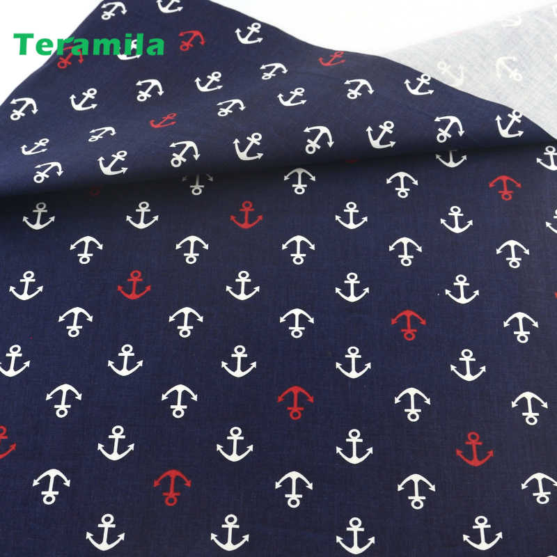 Dark Blue Sea Anchor Cotton Fabric Patchwork Quilting Sewing Cloth Crafts Bedding Decoration Teramila Fabrics Home Textile