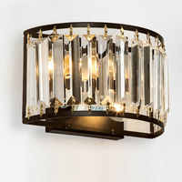 Retro Crystal Wall Sconces Up Down Wall Lamp Vintage Loft Style Wall Lights Fixtures for Home Bedside Bedroom Stairs Lighting
