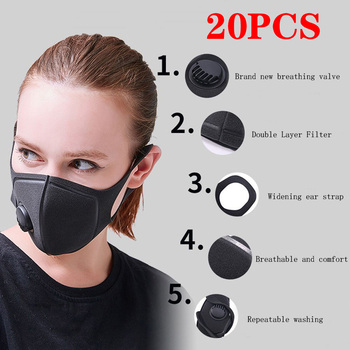 Express logistics 9-14 days 20PCS black respirator PM2.5 activated carbon filter mask male and female anti-fog breathing mask