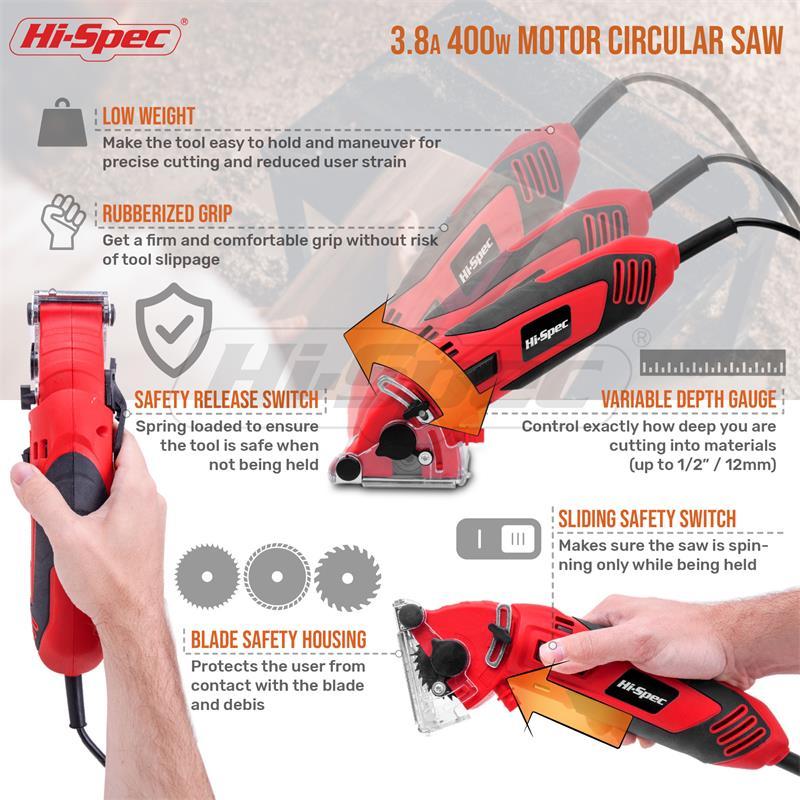 Hi-spec 400W Mini Circular Saw Muti-Function Electric Saw 6 Blades Power Tools with Depth Guide Blade Guard Dust Tube in BMC Box Pakistan