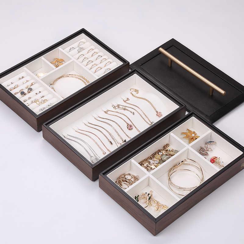 Casegrace 2019 جديد صندوق مجوهرات خشبي مع مقبض ثلاثة طبقة التخزين مجوهرات المنظم حقائب حمل الأشياء النساء خواتم قلادة صندوق