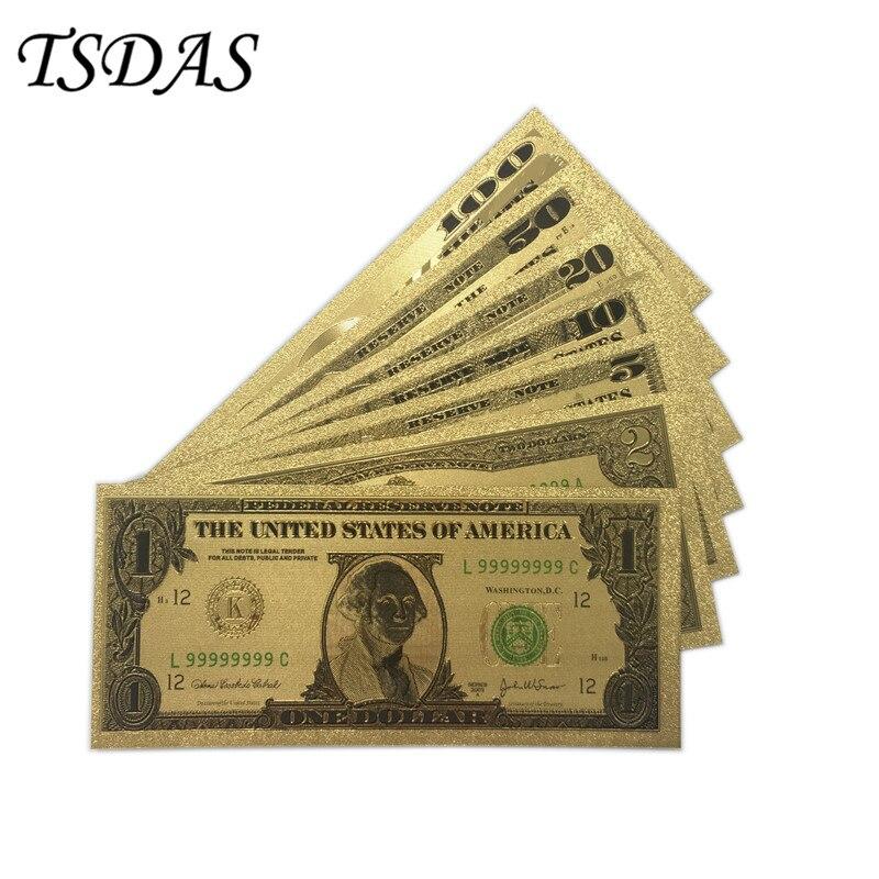 컬렉션 7pcs / 세트 $ 1-100 지폐 미국 달러 금박지 지폐 컬렉션 선물