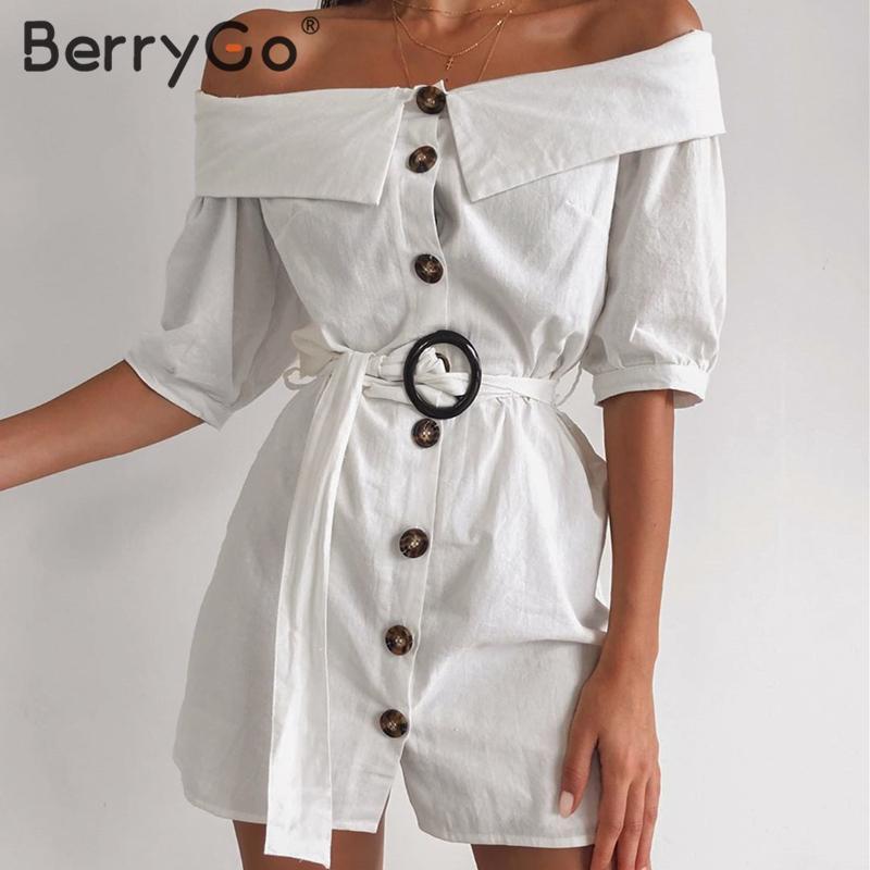 Женское платье с открытыми плечами BerryGo, повседневное короткое однобортное платье с открытыми плечами, для офиса