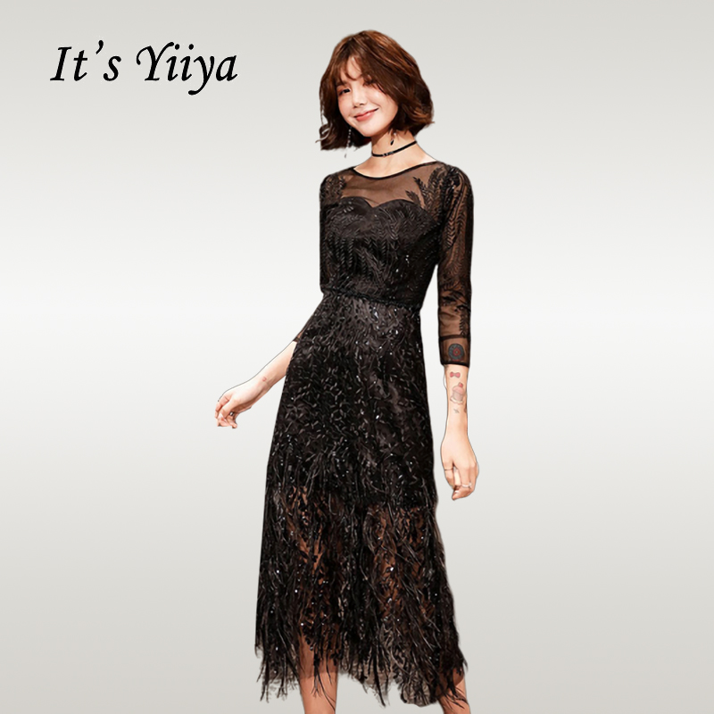 It's YiiYa Prom Dress 2019 Elegant O-neck Lace Black Dresses Women Party Night Gowns Plus Size Tea-length Vestidos De Gala E547