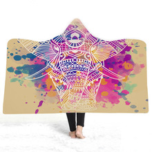 3D Printed Hooded Blanket For Adults Kids Bohemian Portable Warm Blanket For Sofa Wearable Throw Blanket For Home Travel Picnic halloween hooded blanket for home travel picnic 3d printed portable warm blanket for sofa wearable throw blanket for adults kids